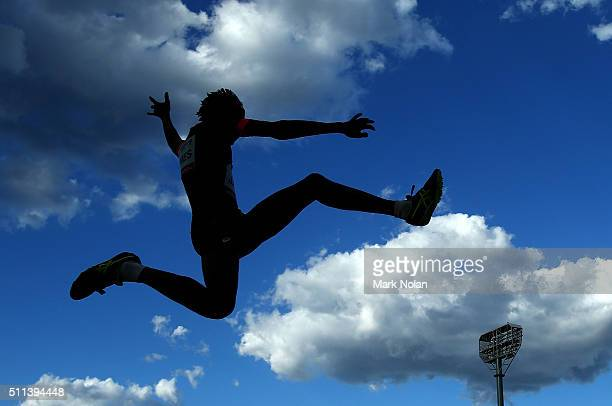 Shemaiah James of Queensland competes in the Mens Long Jump during the Canberra Track Classic at the AIS Athletics track February 20 2016 in Canberra...