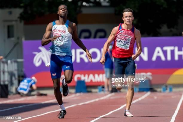 Shemar Boldiszar of Great Britain competes during Men's 200m Semi-Final 2 during 2021 European Athletics U23 Championships - Day 3 at at Kadriorg...