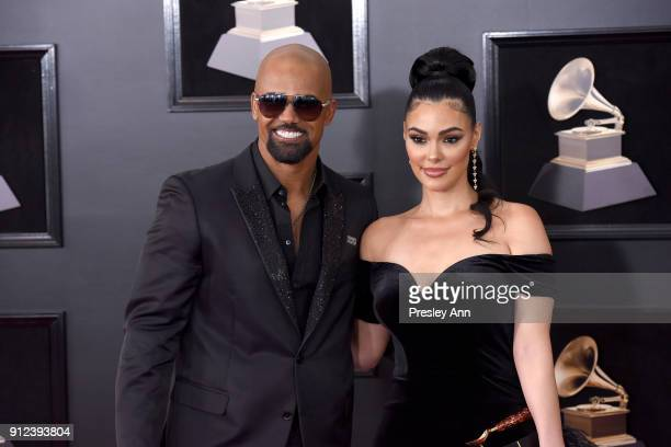 Shemar Moore and Anabelle Acosta attends the 60th Annual GRAMMY Awards Arrivals at Madison Square Garden on January 28 2018 in New York City