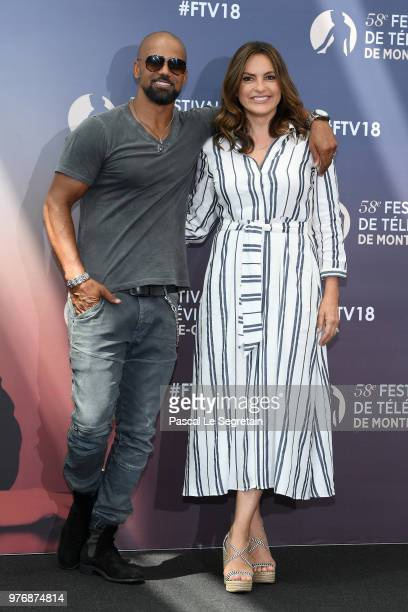 Shemar Moore from the serie 'SWAT' and Mariska Hargitay from the serie 'Law Order SVU' attend a photocall during the 58th Monte Carlo TV Festival on...