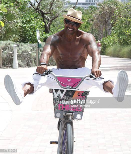 Shemar Moore rides into the W South beach three year anniversary at W South Beach Hotel Residences on July 3 2012 in Miami Beach Florida