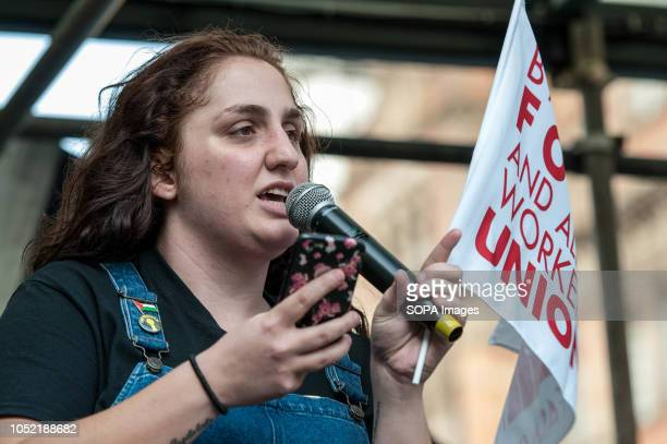 Shen Batmaz from Bakers Food and Allied Workers Union and BFAWU McStrike organiser speaks at an antiracist counter demo in London Counter...