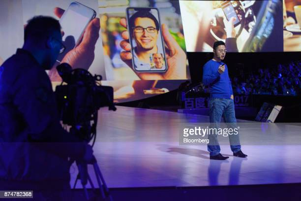 Shen Dou vice president at Baidu Inc speaks at the Baidu World Technology Conference in Beijing China on Thursday Nov 16 2017 Baidu has unveiled a...