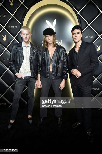 Shen Kai Colin Lamont and Ameil Anderson arrive at Playboy Club New York Grand Opening on September 12 2018 in New York City