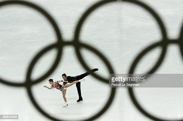 Shen Xue and Zhao Hongbo of China compete in the Pairs Free Skating Figure Skating during Day 3 of the Turin 2006 Winter Olympic Games on February 13...