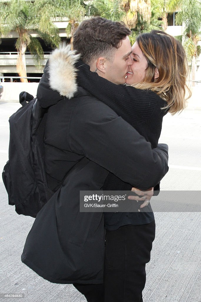 Shenae Grimes and Josh Beech seen at LAX on February 23, 2015 in Los Angeles, California.