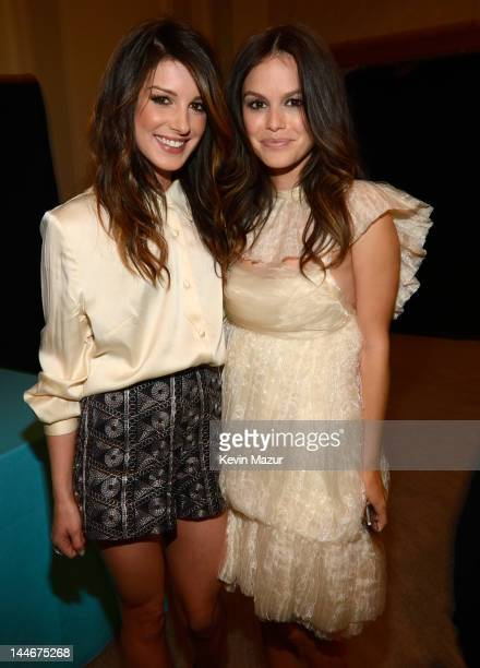 Shenae Grimes and Rachel Bilson backstage at the CW Network's 2012 Upfront at New York City Center on May 17 2012 in New York City
