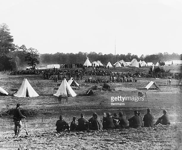 1862 Shenandoah Valley VA Confederate prisoners captured in the Shenandoah Valley being gaurded by Union soldiers in a camp