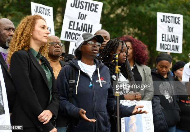 Sheneen McClain center mother of Elijah McClain speaks during a press conference in front of the Aurora Municipal Center on Oct 1 2019 Family friends...