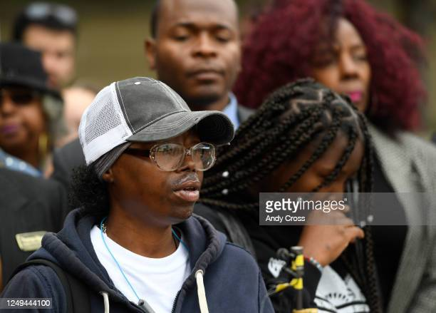 Sheneen McClain left mother of Elijah McClain speaks during a press conference in front of the Aurora Municipal Center October 01 2019 Family friends...