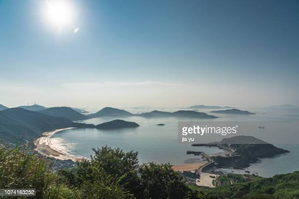 shengsi island,sijiao island,fishing village,elevated view - zhejiang province stock pictures, royalty-free photos & images