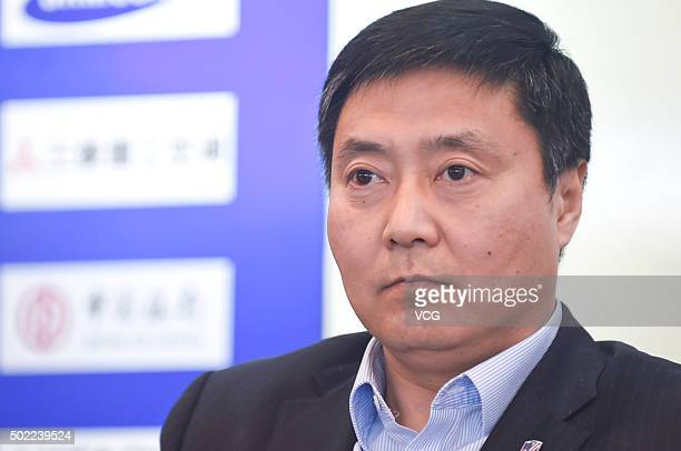Shenhua Chairman Wu Xiaobo attends the press conference of appointing Spanish football manager Gregorio Manzano as the head coach of Shanghai...