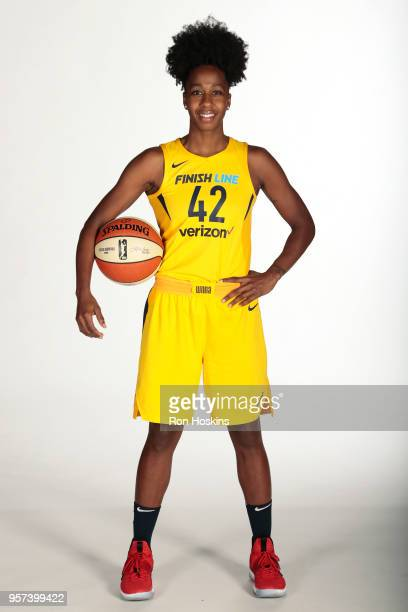 Shenise Johnson of the Indiana Fever poses for a portrait during Indiana Fever Media Day at Bankers Life Fieldhouse on May 8, 2018 in Indianapolis,...