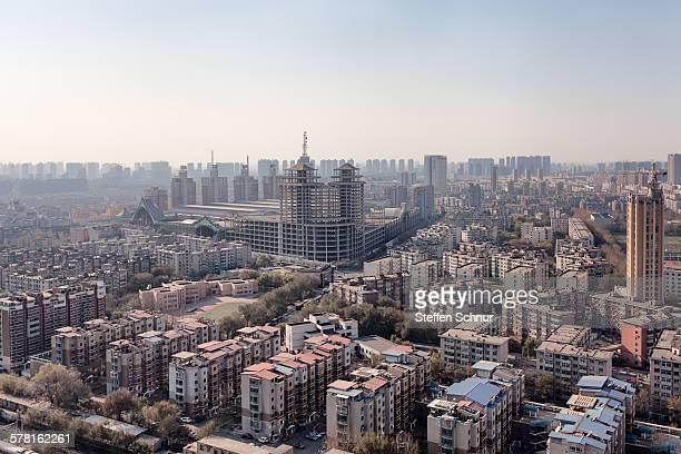 Shenyang China skyline big city construction site