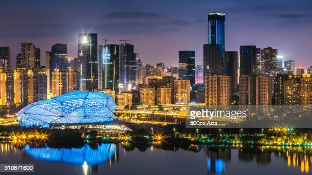 Shenyang city at night with skyscrapers, Liaoning Province, China