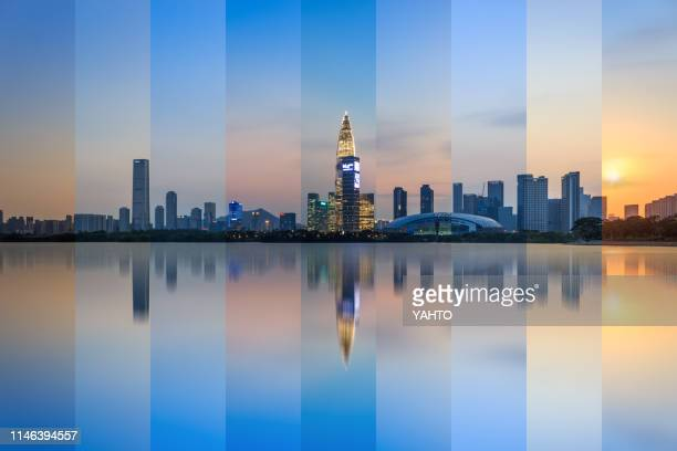 shenzhen bay park skyline - guangdong province stock photos and pictures