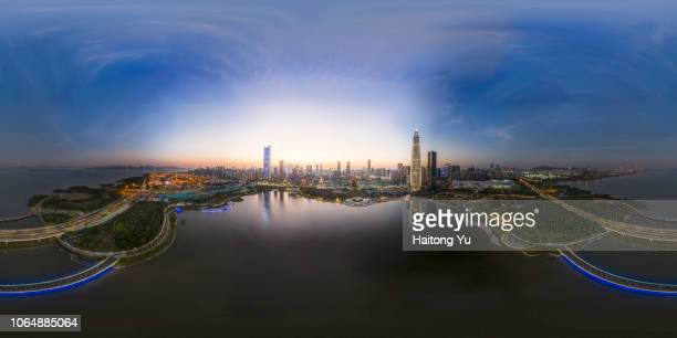 shenzhen, china. aerial 360 panorama over shenzhen bay park. - images stock pictures, royalty-free photos & images