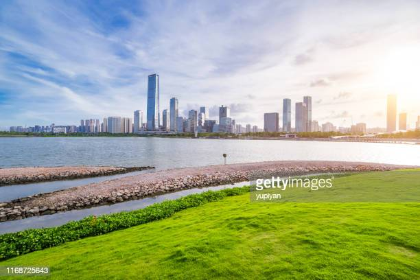 shenzhen city in sunset - guangdong province stock pictures, royalty-free photos & images