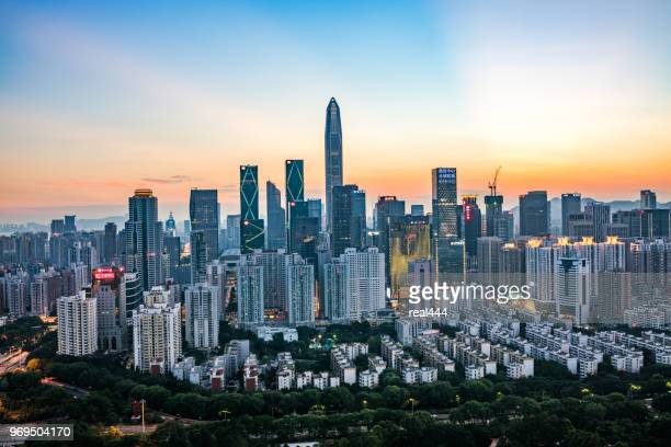 shenzhen city skyline in china - urban sprawl stock pictures, royalty-free photos & images