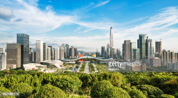 shenzhen city skyline in china - shenzhen stock pictures, royalty-free photos & images