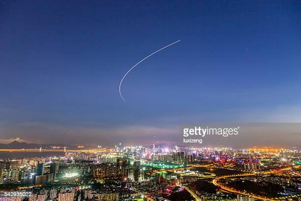 Shenzhen ligne d'horizon en soirée