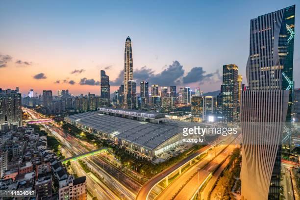 shenzhen city skyline - 深圳市 ストックフォトと画像