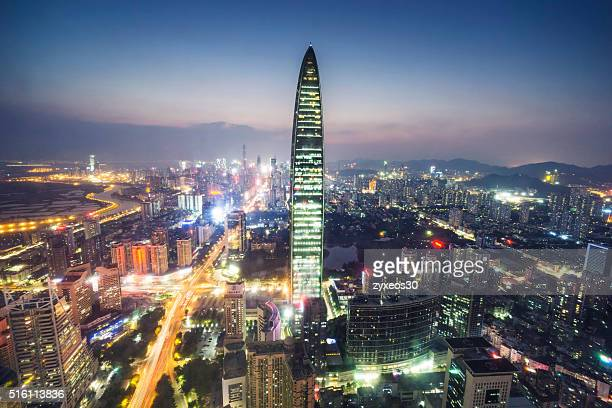 Shenzhen cityscape at night,Kingkey 100