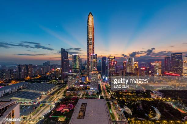 shenzhen futian skyline panorama at dawn - shenzhen stock pictures, royalty-free photos & images