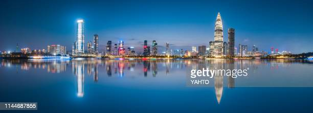 shenzhen houhai financial district at night/shenzhen,china. - shenzhen stock pictures, royalty-free photos & images