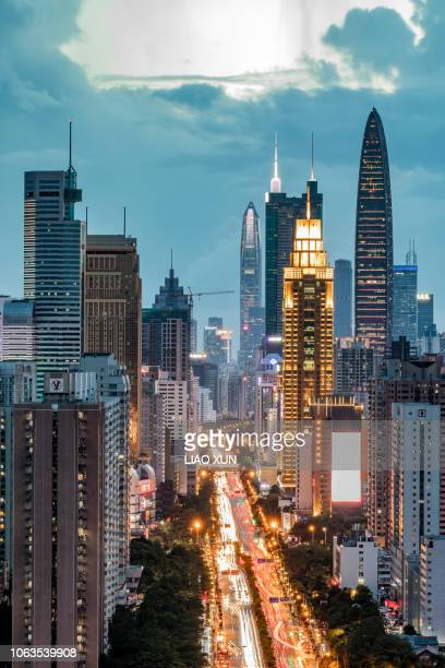 shenzhen luohu skyline panorama at dawn - shenzhen stock pictures, royalty-free photos & images