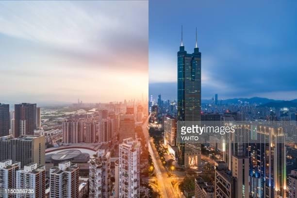 shenzhen megacity at day and night - província de guangdong - fotografias e filmes do acervo