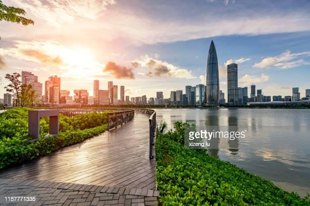 shenzhen public park sunset - shenzhen stock pictures, royalty-free photos & images