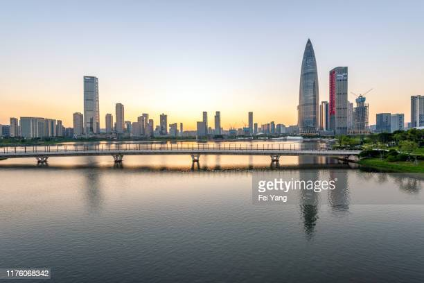 shenzhen skyline at dusk - shenzhen stock pictures, royalty-free photos & images