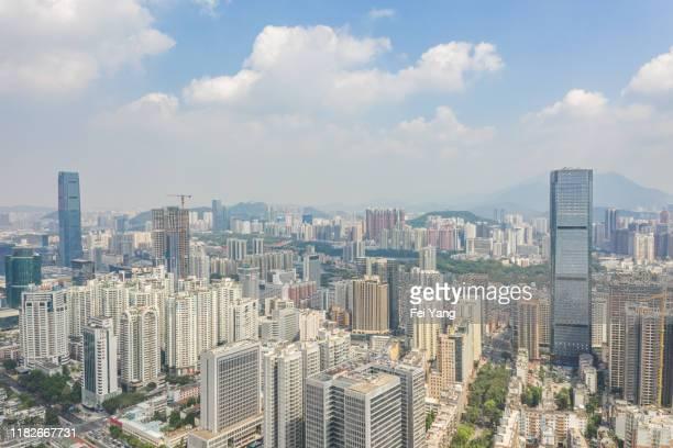 shenzhen skyline, guangdong province, china - 深圳市 ストックフォトと画像