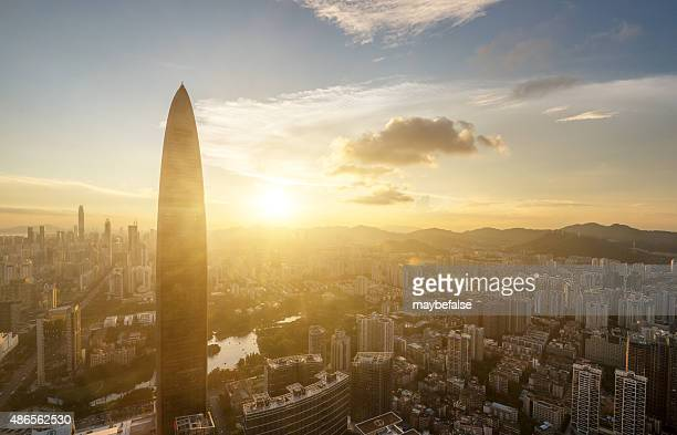 shenzhen skyline in sunset - government building stock pictures, royalty-free photos & images