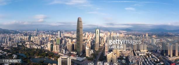 shenzhen skyline panorama - 深圳市 ストックフォトと画像