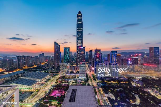 shenzhen skyline - prosperity stock pictures, royalty-free photos & images