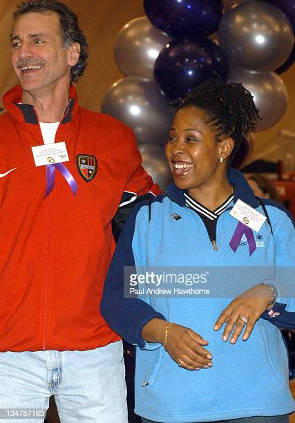 Shep Messing Metrostars broadcaster and Former Cosmos Goalkeeper with Former Nationals Rhythmic Gymnastics Gold Medal winner Wendy Hickman