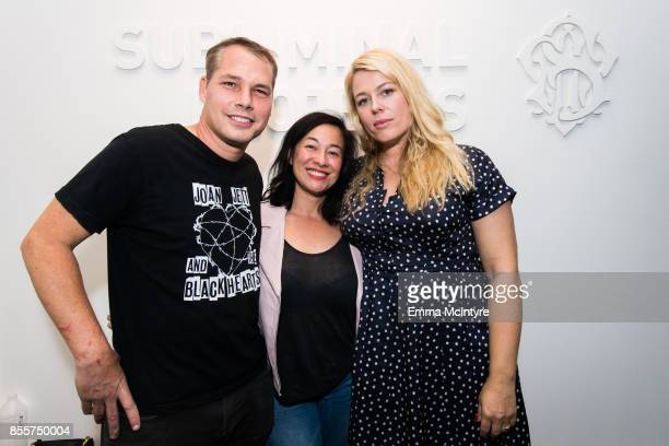 Shepard Fairey Amanda Fairey and Amanda de Cadenet attend the #girlgaze uncensored exhibition at Subliminal Projects on September 29 2017 in Los...