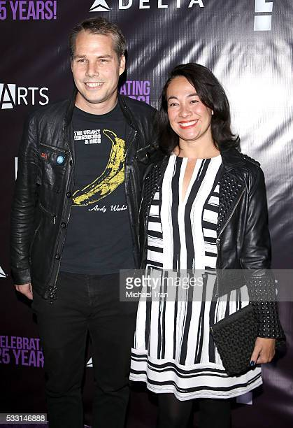 Shepard Fairey and Amanda Fairey arrive at the PS Arts' The Party held at NeueHouse Hollywood on May 20 2016 in Los Angeles California
