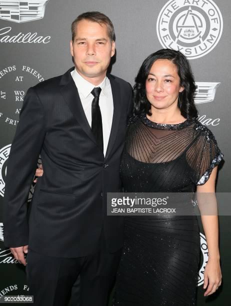 Shepard Fairey and Amanda Fairey attend the Art of Elysium's 11th annual Heaven Gala in Santa Monica California on January 6 2018 / AFP PHOTO /...