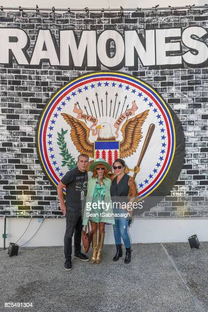 Shepard Fairey Linda Ramone and Amanda Fairey pose for a photo at the 2017 Johnny Ramone tribute and special screening of 'Buffalo '66' at the...