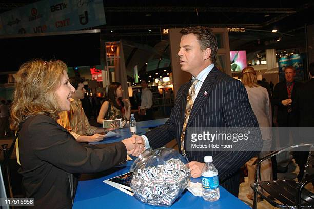 Shepard Smith greets fan during Fox at NCTA FX Fuel TV and Fox Reality April 10 2006 in Atlanta GA United States