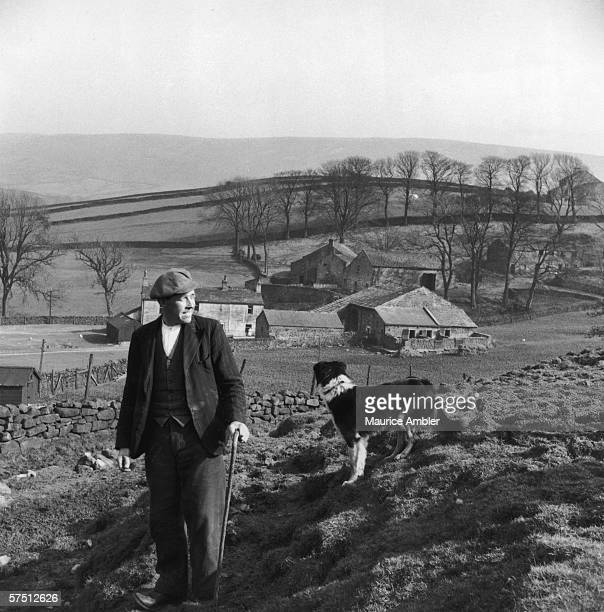 A shepherd and his dog on a farm in Lancashire 1955 Original publication Picture Post 7794 What Hope In The Hills pub 4th June 1955