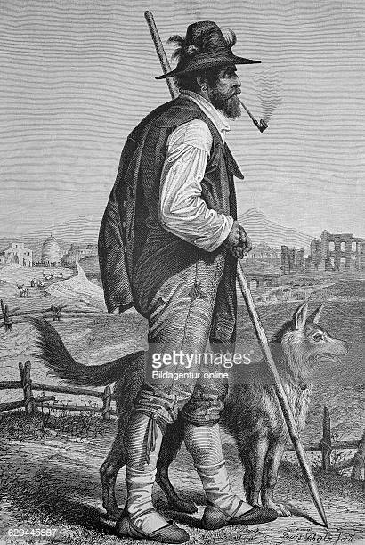 Shepherd from campagna italy historic wood engraving ca 1880