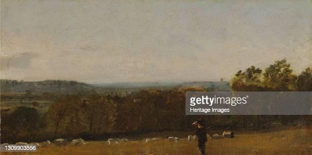 Shepherd in a Landscape looking across Dedham Vale towards Langham;Dedham Vale with a Shepherd;Extensive Wooded Landscape with a Shepherd and Flock...