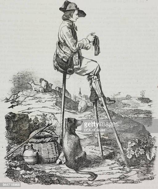A shepherd of the Landes of Gascony in stilts France lithograph by Giovanni Mariani from Poliorama Pittoresco n 48 July 9 1842