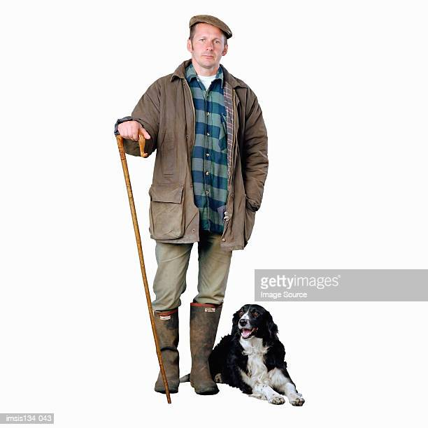 Shepherd with border collie dog