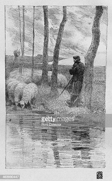 A shepherd with his flock by a river 1899 Plate taken from The Studio magazine volume 15 no 70