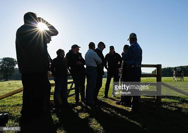 Shepherds discuss the day ahead at the British National Sheep Dog Trials on August 6, 2016 in York, England. Some 150 of the best sheepdogs and...